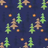 Forest trees night Christmas new year background. Geometric seamless pattern texture fabric Royalty Free Stock Photography