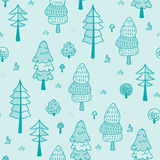 Forest trees seamless vector pattern. Botanic design texture in colors of blue. Forest trees seamless vector pattern. Hand drawn background with pines, grass Stock Photos