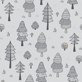 Forest trees seamless vector pattern. Botanic design texture in colors of grey. Forest trees seamless vector pattern. Hand drawn background with pines, grass Royalty Free Stock Photo