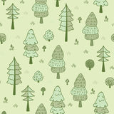 Forest trees seamless  pattern. Hand drawn background with pines, grass, bushes and mushrooms in doodle style. Botanic desig Stock Image