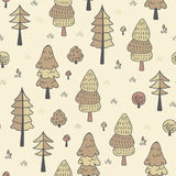 Forest trees seamless vector pattern. Botanic design texture in colors of brown and beige. Forest trees seamless vector pattern. Hand drawn background with pines Stock Images