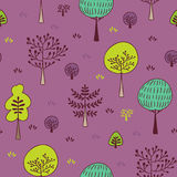 Forest trees seamless  pattern. Hand drawn background with plants, grass and bushes in doodle style. Botanic design texture Stock Image