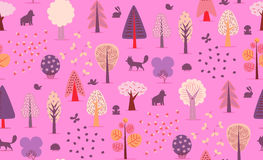 Forest trees seamless pattern Royalty Free Stock Images
