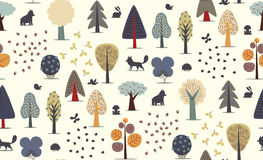 Forest trees seamless pattern Stock Photos