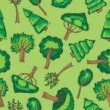 Forest trees Seamless vector patten Stock Photo