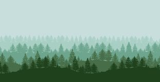 Forest trees silhouettes background. Twilight spruce forest trees green silhouettes background vector illustration Royalty Free Stock Images