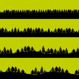 Forest trees silhouettes backgrounds set Stock Photography