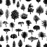 Forest trees silhouettes seamless pattern Royalty Free Stock Photography