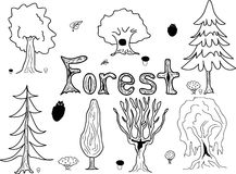 Forest trees - sketch style Stock Photos