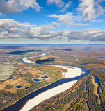 Forest-tundra river in autumn, top view Royalty Free Stock Photos