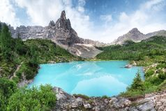 Forest and turquoise lake in the Dolomites apls, Italy. Sorapis lake in the Italy. Beautiful landscape at the summer time stock photography