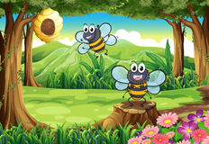 A forest with two bees near the beehive Royalty Free Stock Images