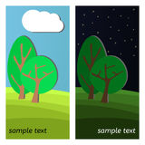 Forest-26. Two Trees. Day and Night on a Clearing in the Forest Royalty Free Stock Photography