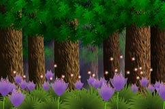 Forest under the moonlight-illustrator. Forest under the moonlight,flowers and fireflies Stock Photos