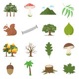 Forest 16 vector icons set in cartoon style. Forest 16 vector icon set in cartoon style for web design Royalty Free Stock Photography