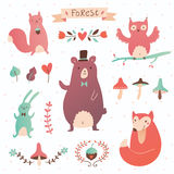 Forest vector set Stock Photos