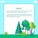 Forest Vector Web Banner avec des arbres et des buissons Illustration de Vecteur