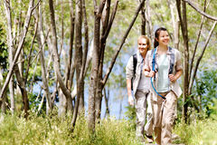 Forest walk women Royalty Free Stock Photo