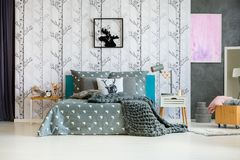 Forest Wallpaper In Bedroom Royalty Free Stock Photo