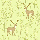 Forest wallpaper with deer Stock Photos