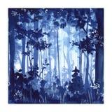 Forest Watercolor-het schilderen stock illustratie