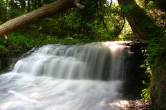 Forest waterfall. Waterfall on a small stream or brook in a forest.  Wagner Falls, Munising, Michigan (USA Royalty Free Stock Photo