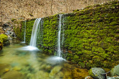 Forest Waterfall and blue water on Crazy Mary River, Belasitsa Mountain, Bulgaria Royalty Free Stock Photography