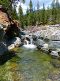 Forest Waterfall. Cascading waterfall amidst granite rocks, Trinity County, Northern California Stock Photo