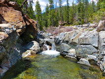 Forest Waterfall. Cascading waterfall amidst granite rocks, Trinity County, Northern California Stock Image