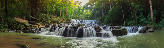 Forest waterfall at National Park, Panorama Stock Images