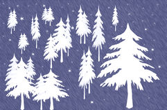 Forest of White Christmas Trees. Small section of forest with white fir Christmas trees – trees are bare with no ornaments snow falling Stock Illustration