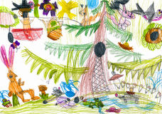 Forest and wild animals. child drawing Stock Photos