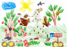 Forest and wild animals. child drawing Royalty Free Stock Images