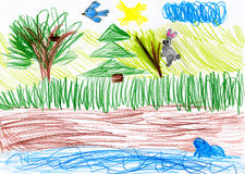 Forest and wild animals. child drawing. Forest and wild animals. child fantasy drawing Royalty Free Stock Image