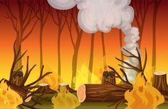 Forest Wildfire Disaster stock illustratie