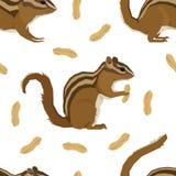 Forest Wildlife Vector-de Aardeekhoorns en de pinda's Naadloos patroon van de dieren Geometrisch stijl stock illustratie