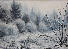 Forest winter landscape, oil painting Stock Images