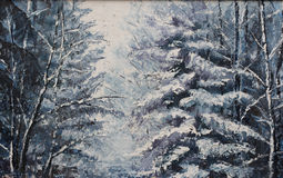 Forest winter landscape, oil painting Royalty Free Stock Images