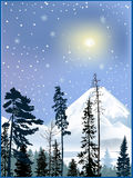 Forest in winter snow mountains. Illustration with forest in winter snow mountains Stock Photos