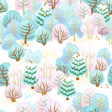 Forest in winter with snow. Seamless pattern of fairy forest with snow Stock Photography