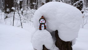 Forest in winter. Snowman standing on a tree stump stock video footage