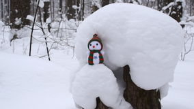 Forest in winter. Snowman standing on a tree stump stock video