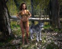 Forest Woman, Wilflife, lobo, natureza Imagens de Stock