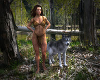 Forest Woman, Wilflife, Wolf, Nature Stock Images