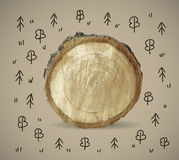 Forest and wood nature object with doodles Stock Photography