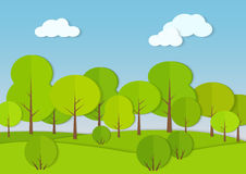 Forest woods cardboard paper landscape. Park green tree with bush Vector illustration. Royalty Free Stock Images