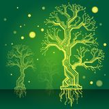 Forest in a yellow. board - the scheme green electronic structure. Electronic structure as construction model in the form of a tree with a green background Stock Photo