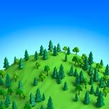 Foresta bassa 3D di estate poli sull'illustrazione della collina Fotografie Stock Libere da Diritti