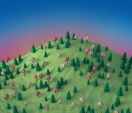 Foresta bassa 3D di fantasia poli sull'illustrazione della collina Fotografie Stock Libere da Diritti