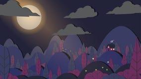 foresta Carta tagliata di applique di stile con il paesaggio di notte della casetta royalty illustrazione gratis